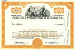 Utah Construction & Mining Co. - SOLD
