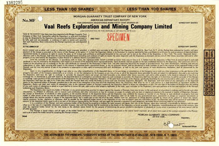 Vaal Reefs Exploration and Mining Company Limited - Stock Certificate