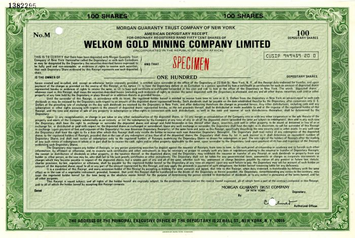 Welkom Gold Mining Company Limited - Stock Certificate