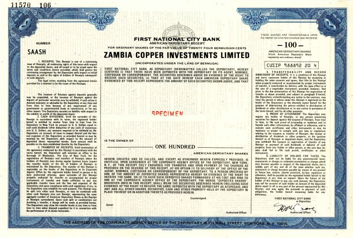 Zambia Copper Investments Limited - Stock Certificate