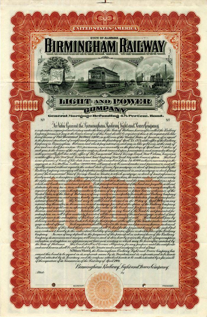 Birmingham Railway Light and Power Company - $1,000 - Bond