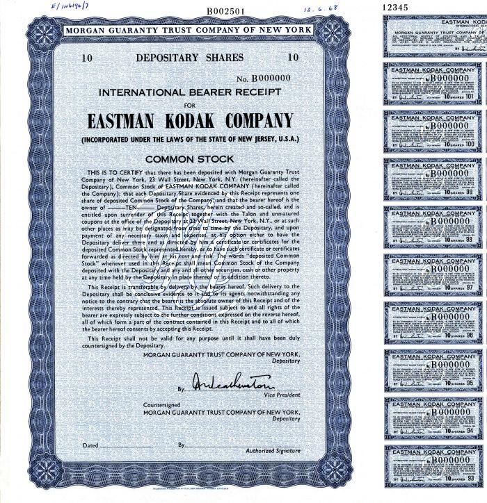 Eastman Kodak Company - Stock Certificate