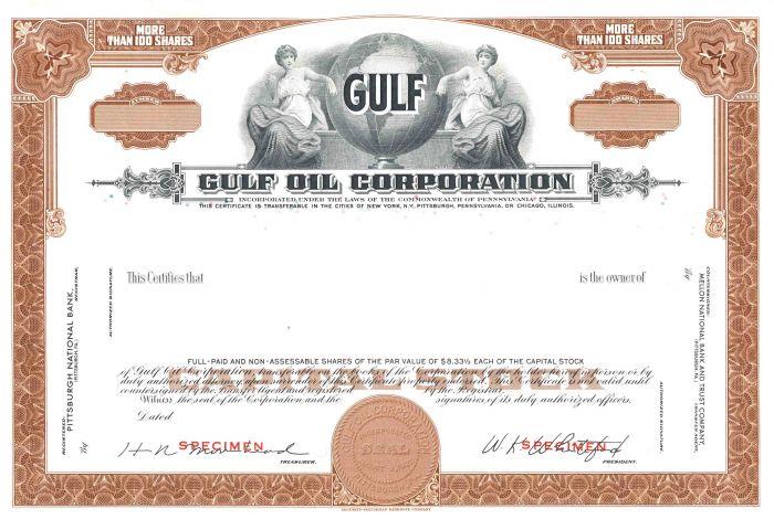Gulf Oil Corporation - Stock Certificate - SOLD