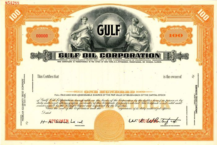 Gulf Oil Corporation - Stock Certificate