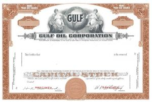 Gulf Oil Corporation - Stock Certificate - SOLD