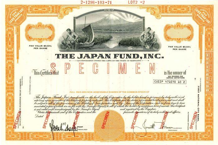 Japan Fund, Inc. - Stock Certificate