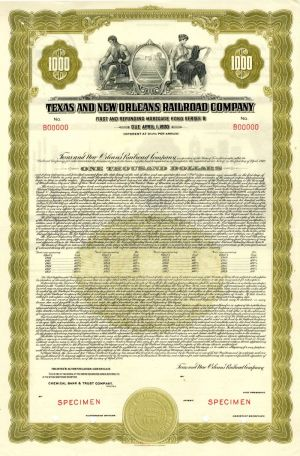 Texas and New Orleans Railroad Company - $1,000 - Bond