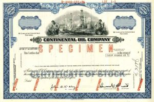 Continental Oil Company - Stock Certificate - SOLD