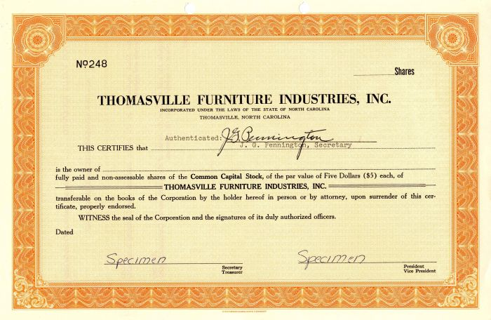 Thomasville Furniture Industries Inc, Thomasville Furniture Industries