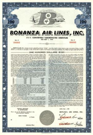 Bonanza Air Lines, Inc. - $100