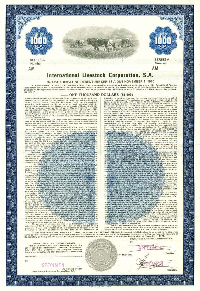 International Livestock Corporation, S.A. - $1,000