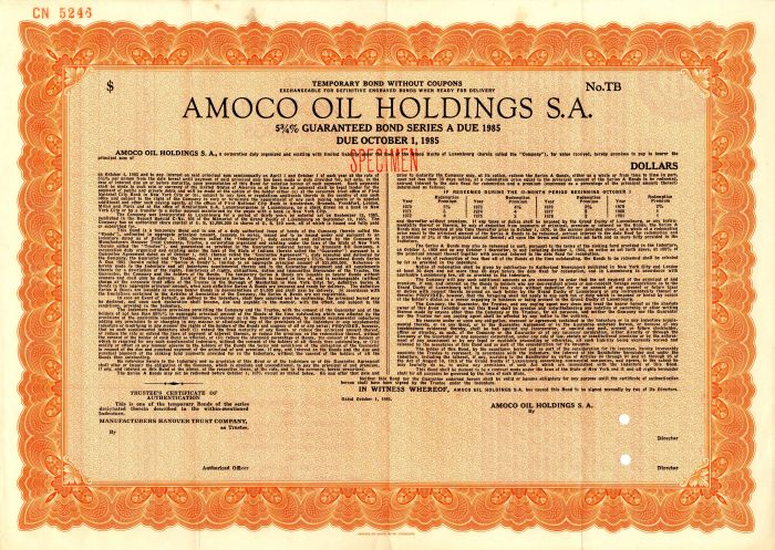 Amoco Oil Holdings S.A. - SOLD