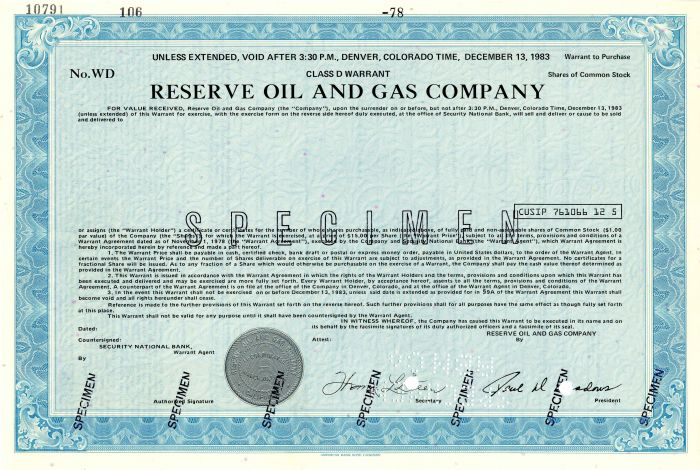 Reserve Oil and Gas Company