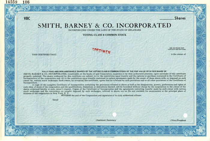 Smith, Barney & Co. Incorporated - SOLD