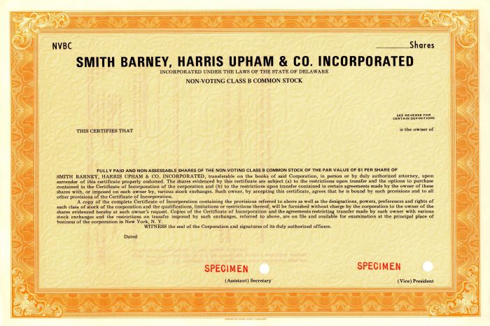 Smith Barney, Harris Upham and Co. Incorporated
