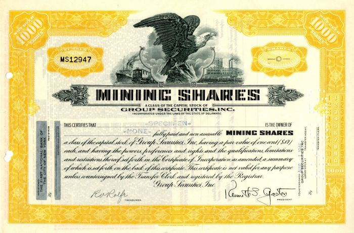 Mining Shares - Stock Certificate