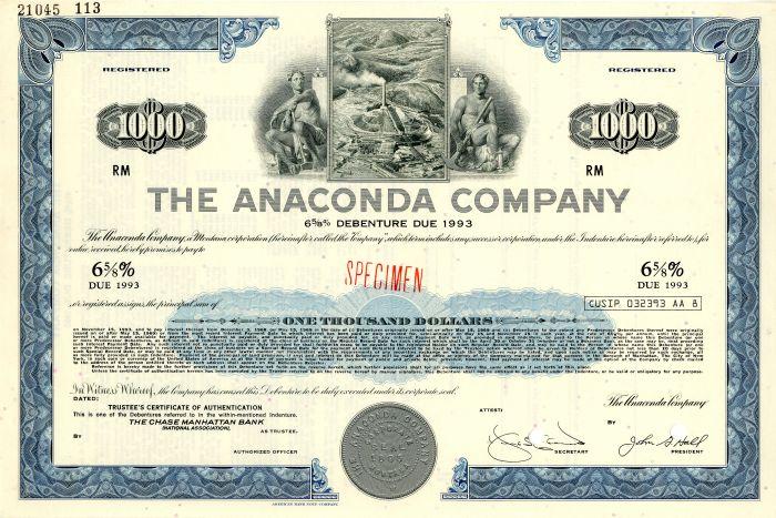 Anaconda Company - $1,000 Specimen Bond