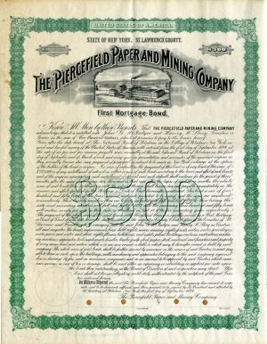 Piercefield Paper and Mining Company - $500 Specimen Bond