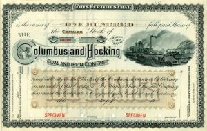 Columbus and Hocking Coal and Iron Company - Specimen Stock Certificate