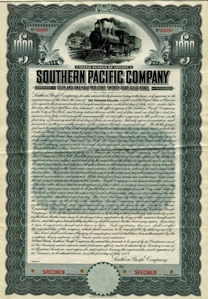 Southern Pacific Company - Specimen Bond Certificate