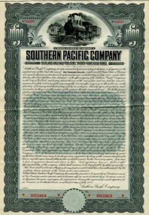 Southern Pacific Company - Specimen Bond Certificate