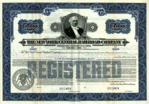New York Central Railroad Company - $10,000 Specimen Bond