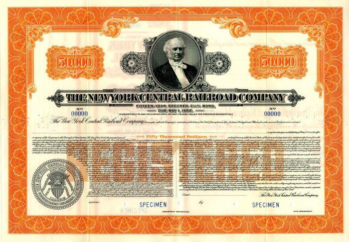 New York Central Railroad Company - $50,000 Specimen Bond