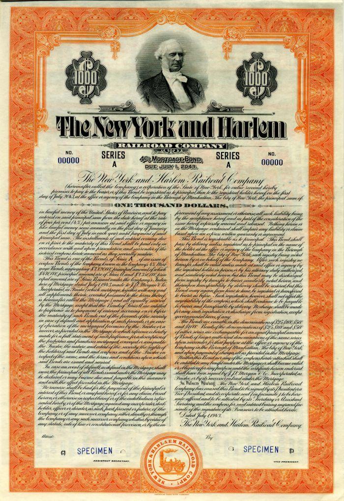 New York and Harlem Railroad Company - $1,000 Specimen Bond