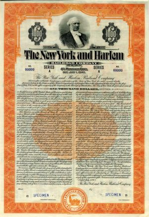 New York and Harlem Railroad Company - $1,000 Specimen Bond