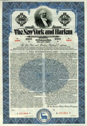 New York and Harlem Railroad Company - $500 Specimen Bond
