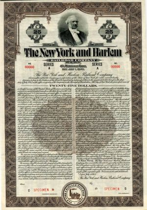 New York and Harlem Railroad Company - $25 Specimen Bond