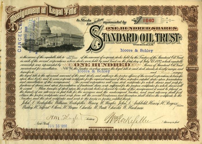 Standard Oil Trust Signed by William Rockefeller and Henry Flagler