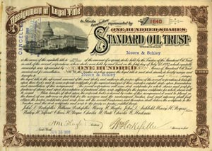 Standard Oil Trust Signed by William Rockefeller and Henry Flagler