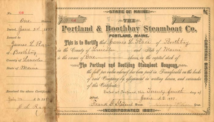 Portland and Boothbay Steamboat Co. - Stock Certificate