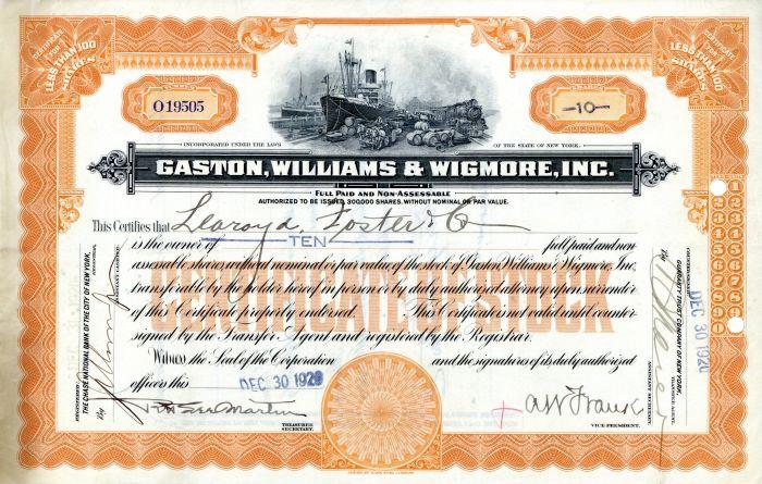Gaston, Williams and Wigmore Inc  - Stock Certificate