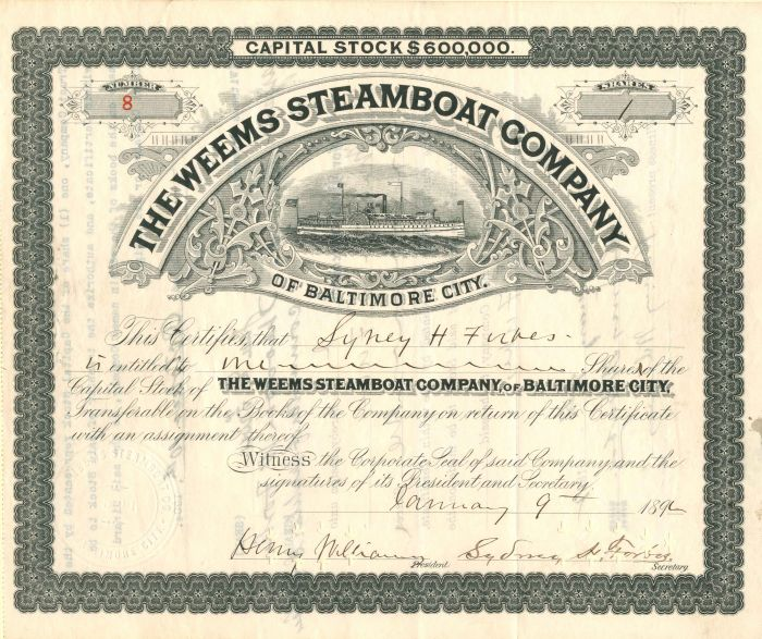 Weems Steamboat Company - Stock Certificate
