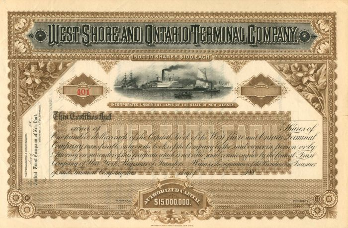 West Shore and Ontario Terminal Company - Stock Certificate