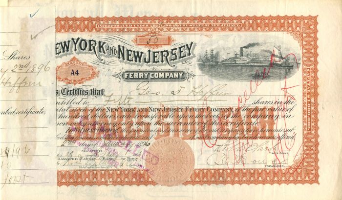 New York and New Jersey Ferry Company - Stock Certificate