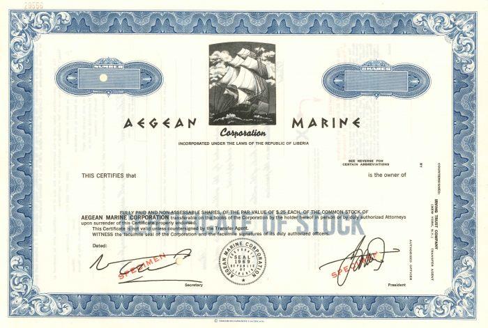 Aegean Marine Corporation - Stock Certificate