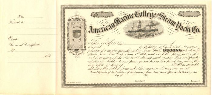 American Marine College and Steam Yacht Co. - Stock Certificate