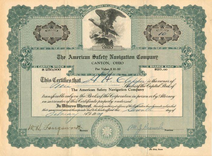 American Safety Navigation Company - Stock Certificate