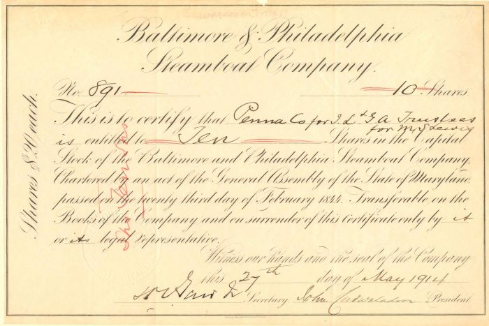 Baltimore and Philadelphia Steamboat Company - Stock Certificate
