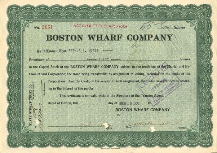 Boston Wharf Company - Stock Certificate