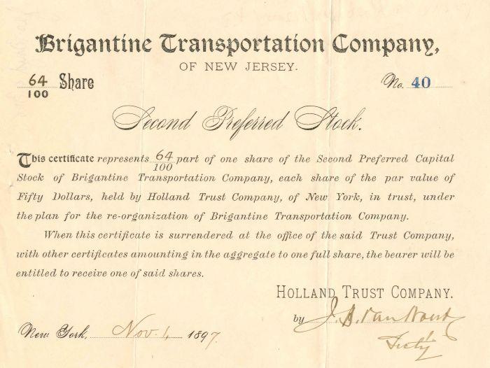 Brigantine Transportation Company of New Jersey - Stock Certificate