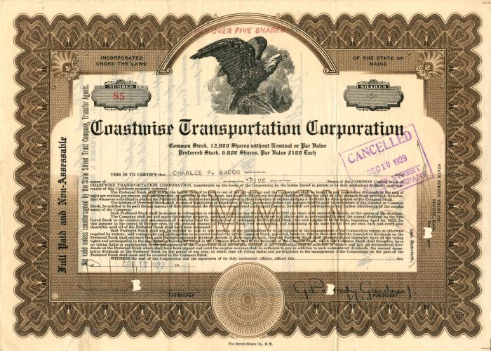 Coastline Transportation Corporation - Stock Certificate
