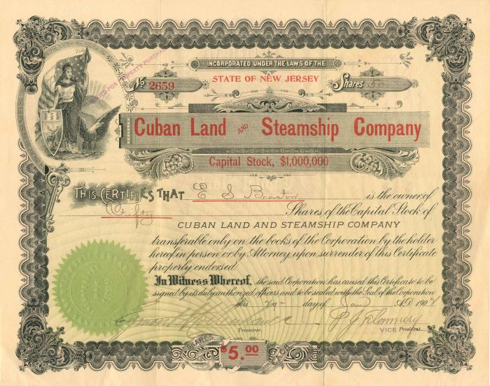 Cuban Land and Steamship Company - Stock Certificate
