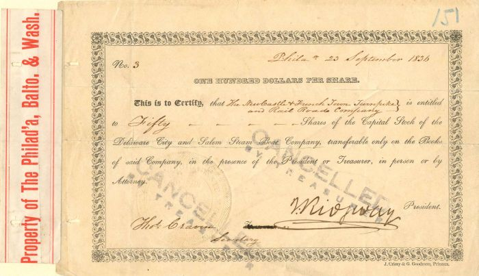 Delaware City and Salem Steam Boat Company - Stock Certificate