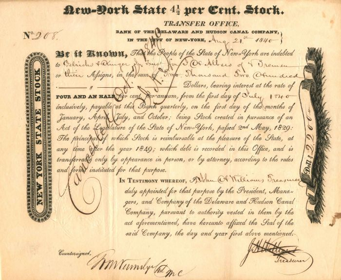 Bank of the Delaware and Hudson Canal Company - Stock Certificate