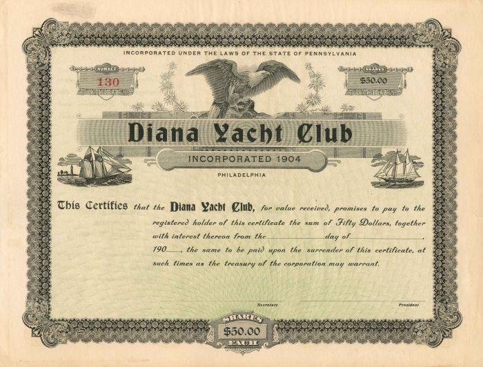 Diana Yacht Club - Stock Certificate