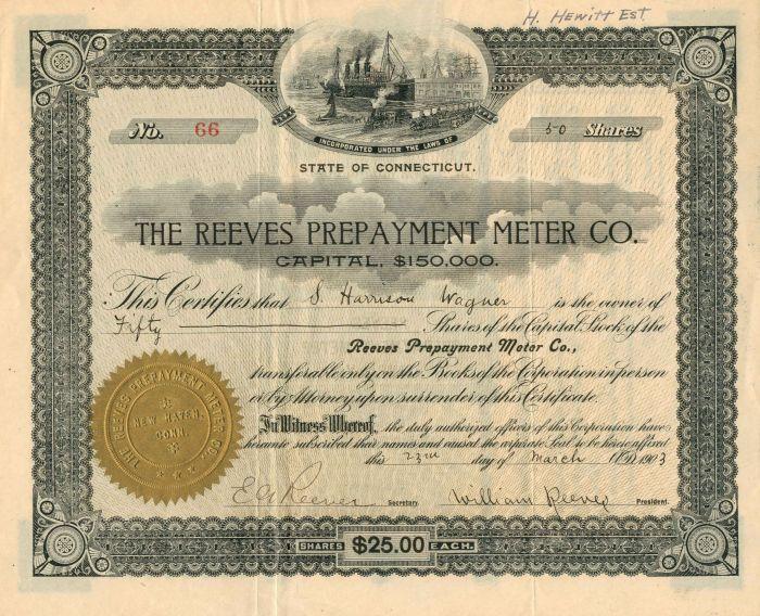 Reeves Prepayment Meter Co. - Stock Certificate